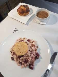 Beetroot Risotto with parmesan crisp