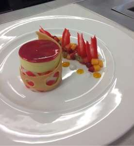 A delicate vanilla mousse with summer fruits